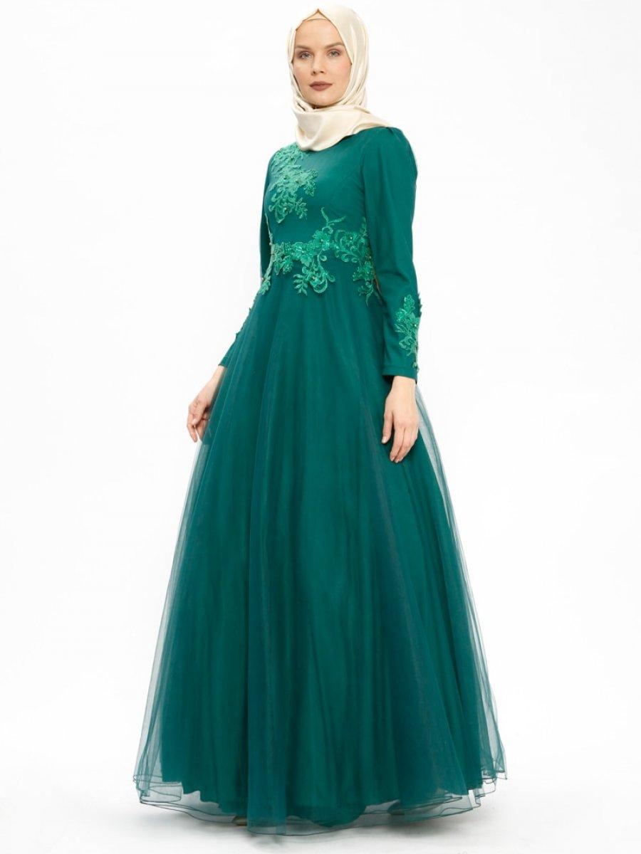 256318c7e4618 Nihan Güpür Detaylı Yeşil Abiye Elbise | Ehl-i Tesettür