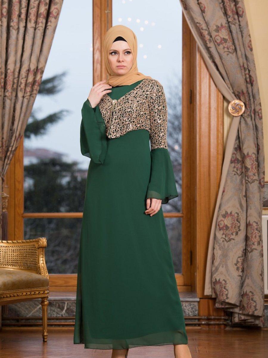 e853072b4ae7d Sefamerve Ceketli Yeşil Abiye Elbise | Ehl-i Tesettür