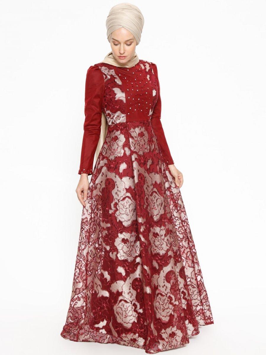 79e5c56b14170 SomFashion Gül Bordo Abiye Elbise | Ehl-i Tesettür