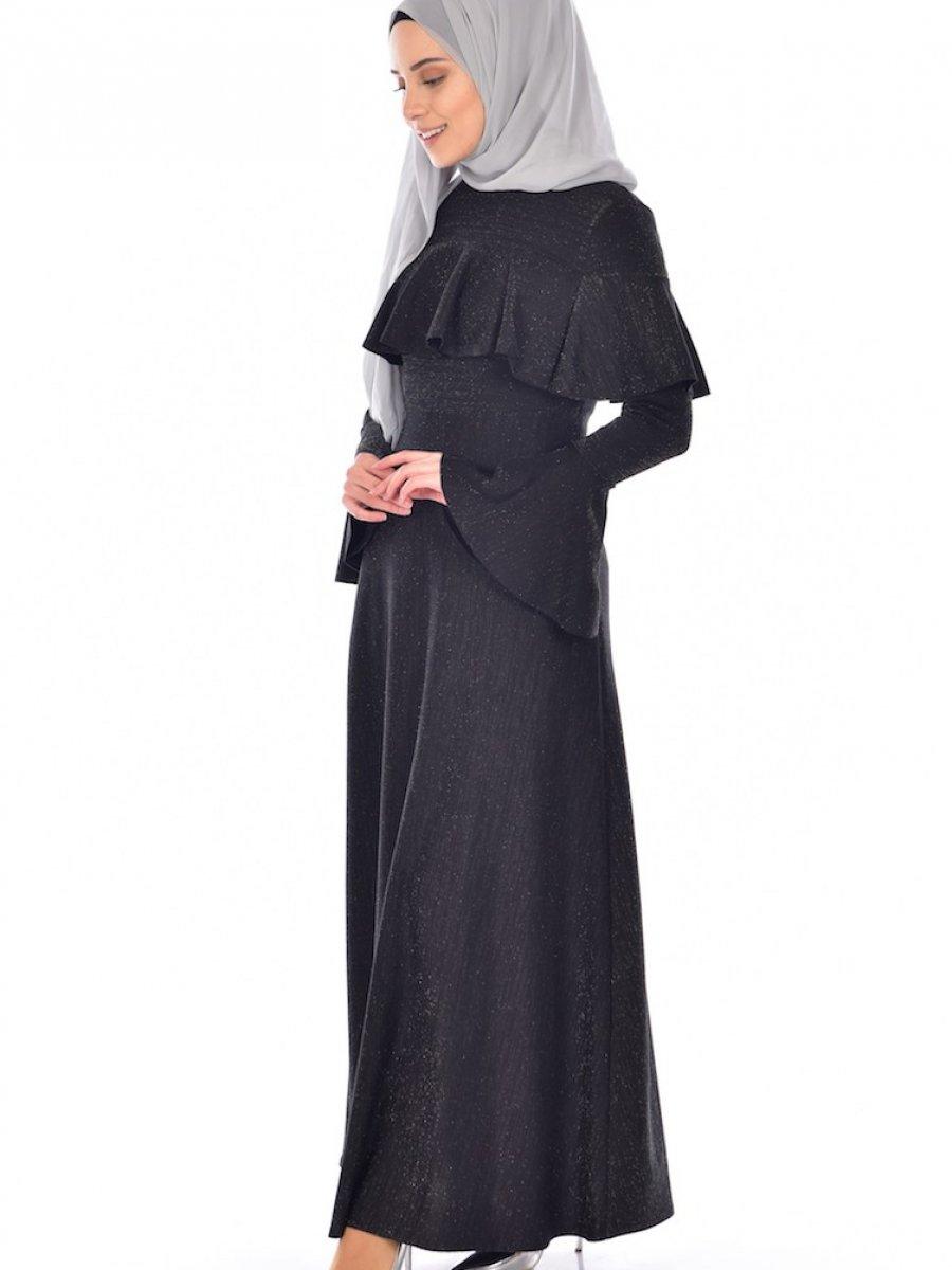 035fa4544fa65 Sefamerve Simli Siyah Elbise   Ehl-i Tesettür