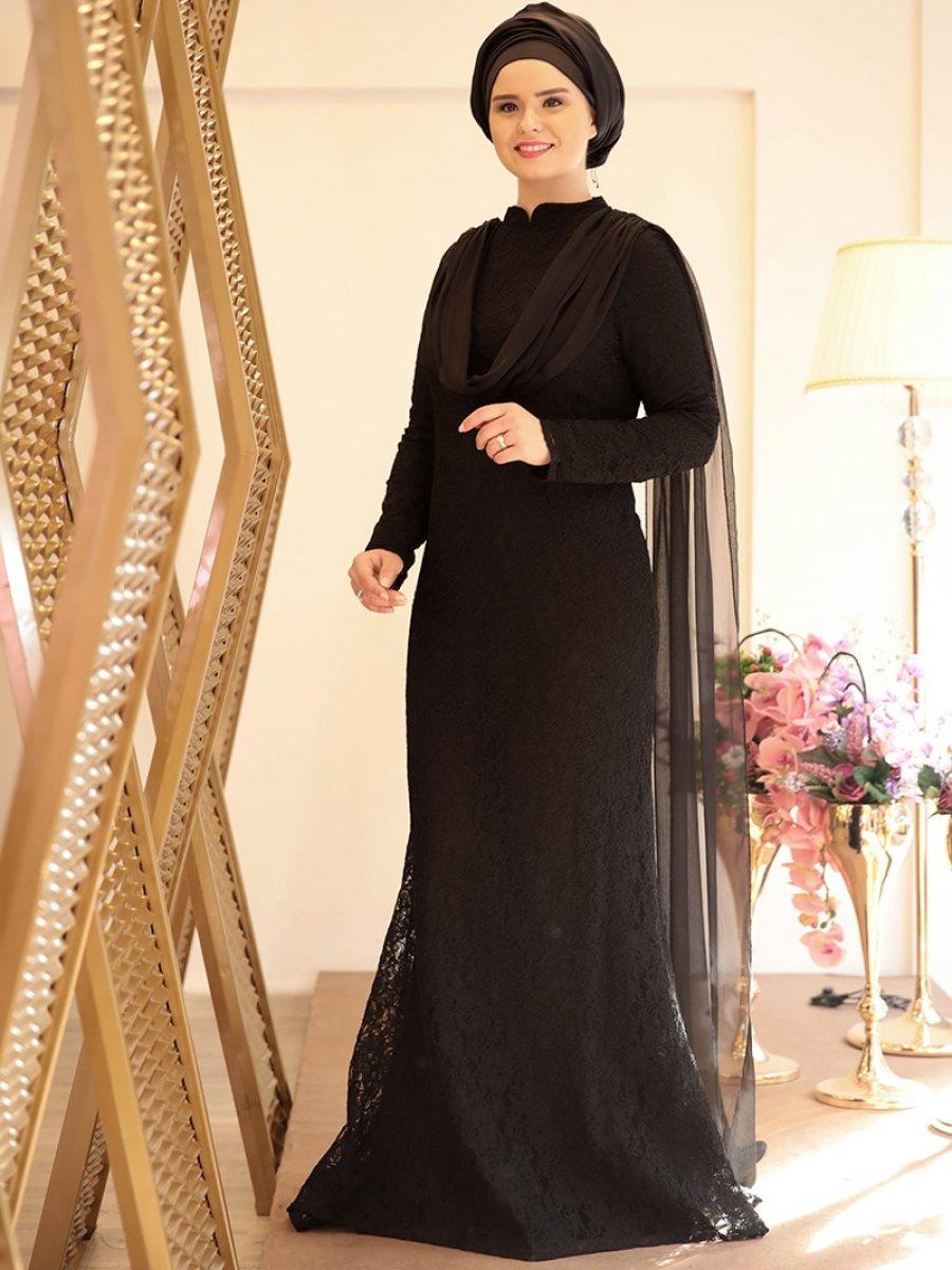 1c00a0ca60c35 Saliha Bade Siyah Abiye Elbise | Ehl-i Tesettür