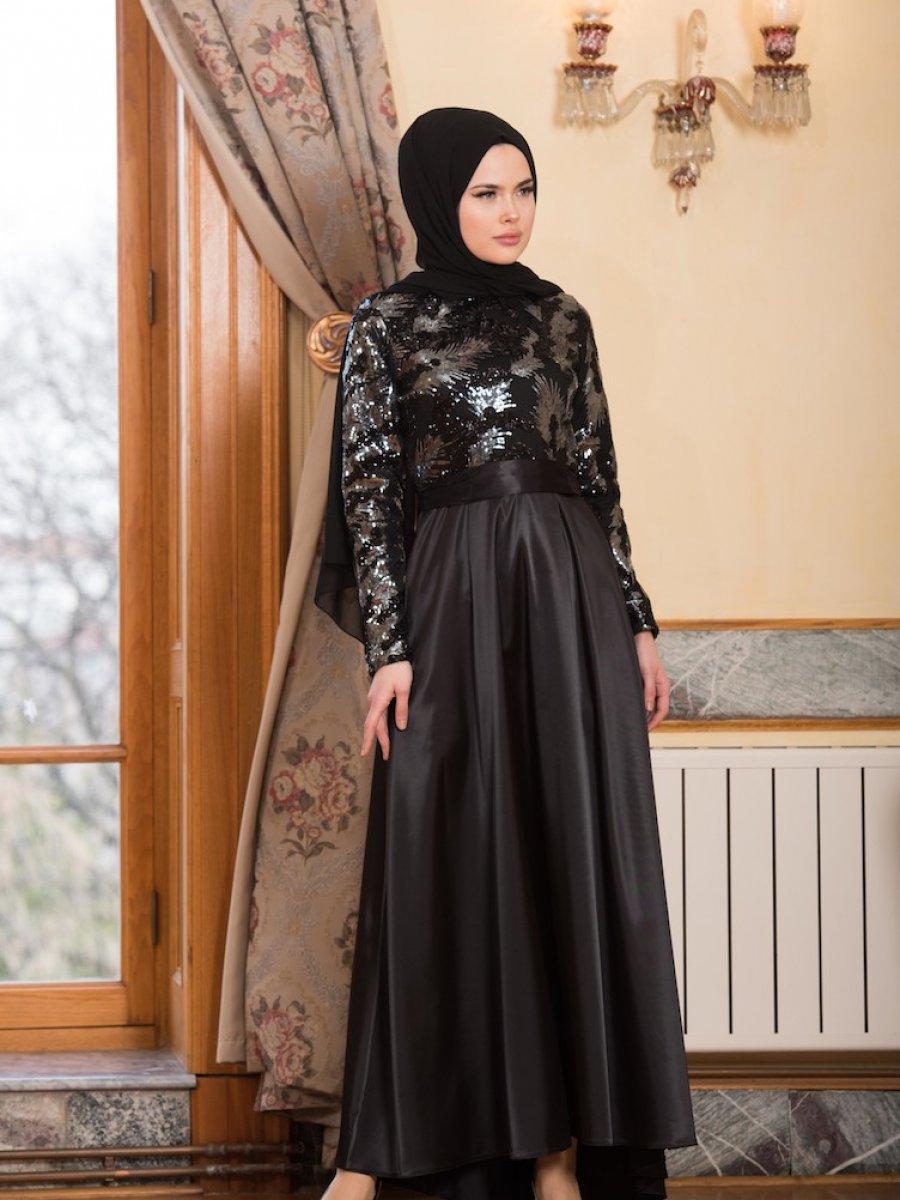 Sefamerve Kemer Detaylı Gri Abiye Elbise