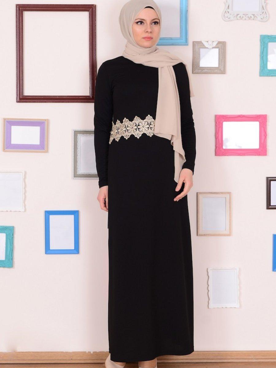 Sefamerve Dantel Detaylı Siyah Elbise