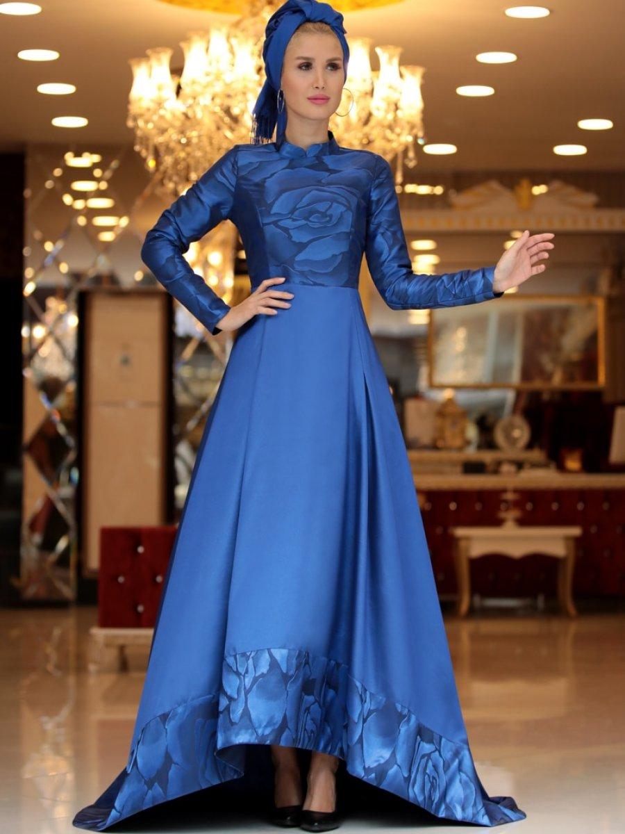6a2ba167bade7 Selma Sarı Design Çiçek Desenli Jakarlı Saks Abiye Elbise | Ehl-i ...