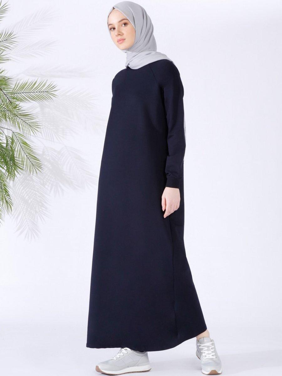 6b408c62f7284 Everyday Basic Düz Renk Spor Lacivert Elbise | Ehl-i Tesettür