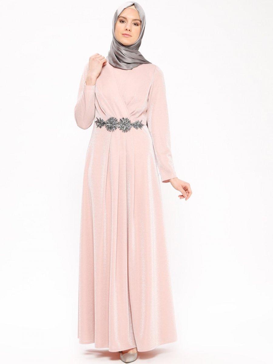 cc2e045eaacc2 Sevdem Abiye Güpür Detaylı Simli Somon Abiye Elbise | Ehl-i Tesettür