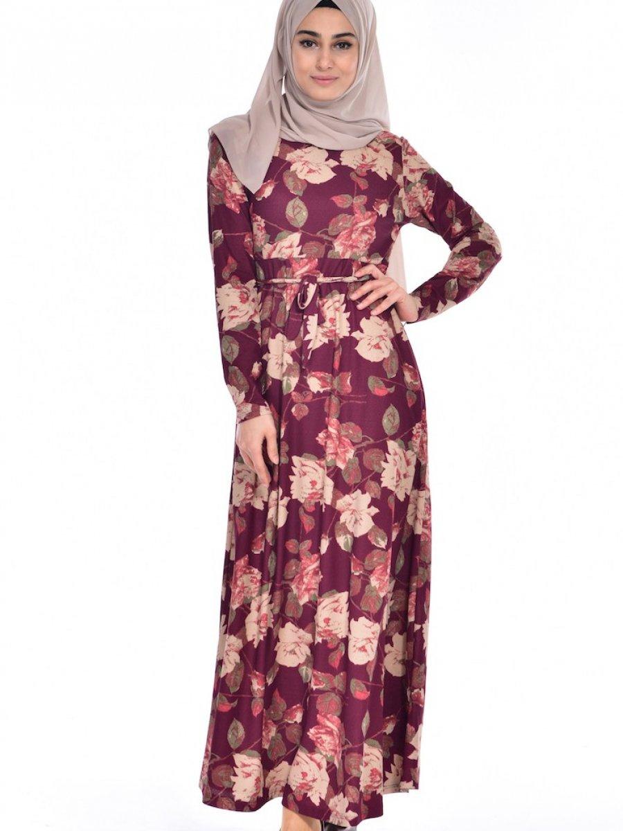 ec0ae36007d71 Sefamerve Çiçek Desenli Mürdüm Elbise | Ehl-i Tesettür