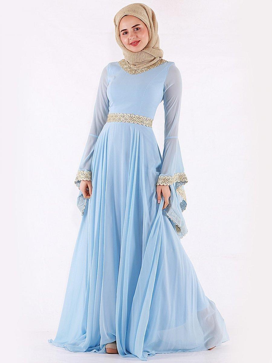 cc6e9a3cdd10a Mileny Kol Detaylı Bebe Mavisi Abiye Elbise | Ehl-i Tesettür