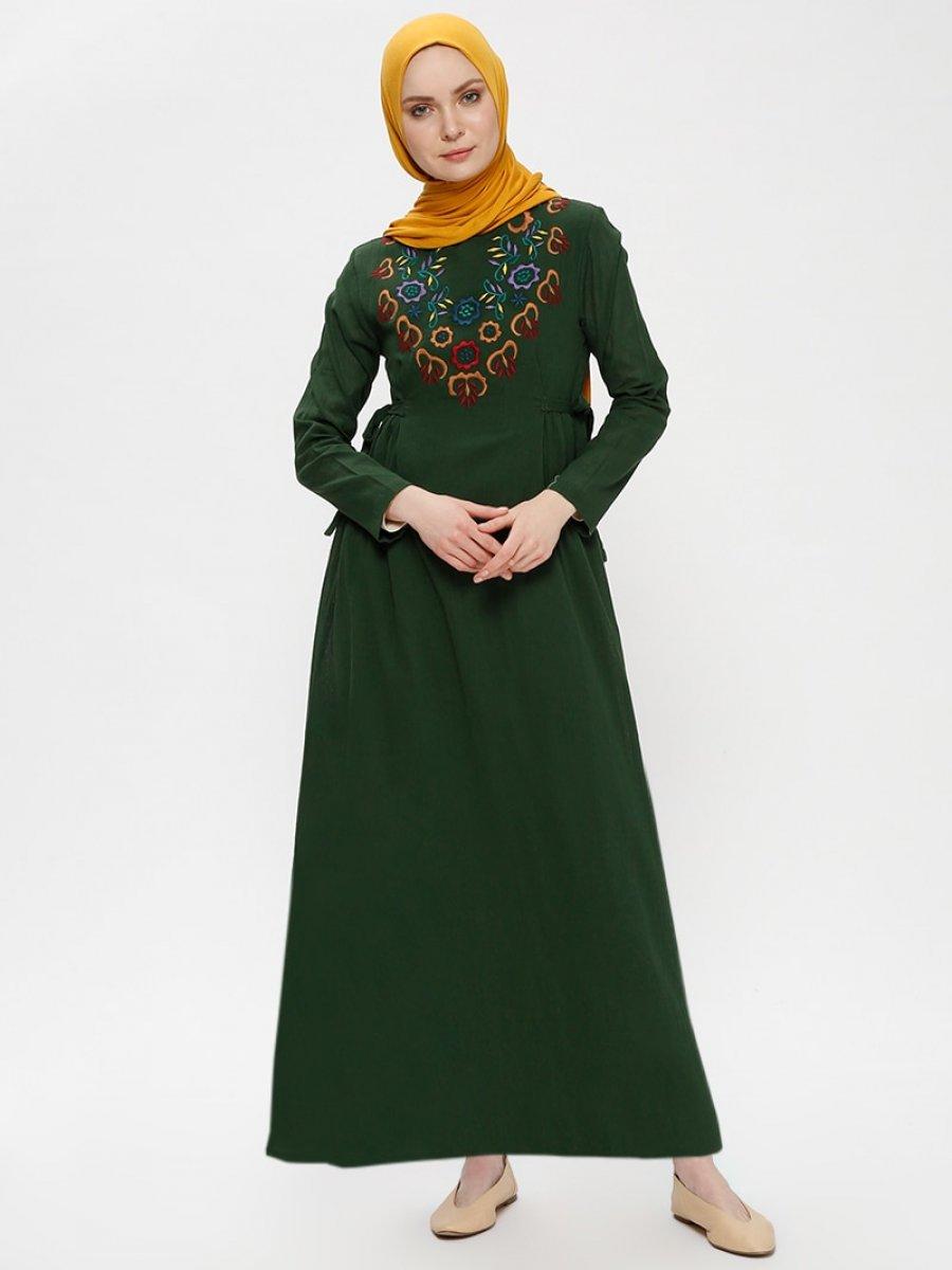 095838c5e7850 Çıkrıkçı Şile Bezi Nakışlı Haki Elbise | Ehl-i Tesettür