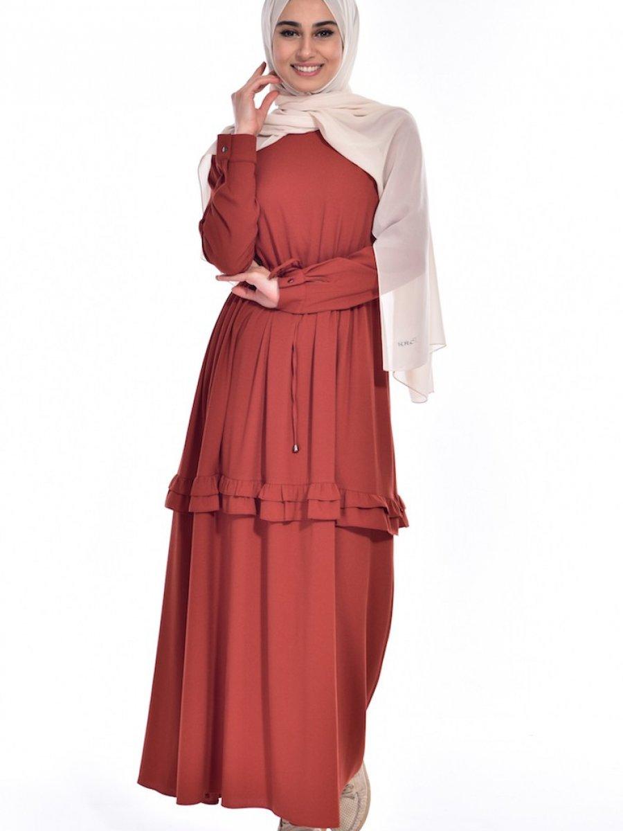 Sefamerve Büzgülü Bağcıklı Kiremit Elbise