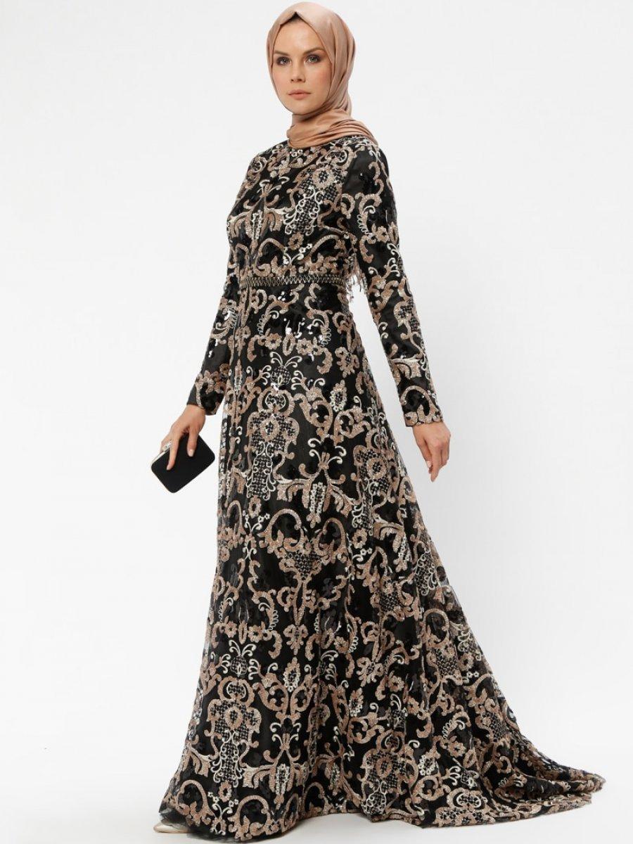 60cbe7f246fca Armine Payetli Siyah Abiye Elbise | Ehl-i Tesettür