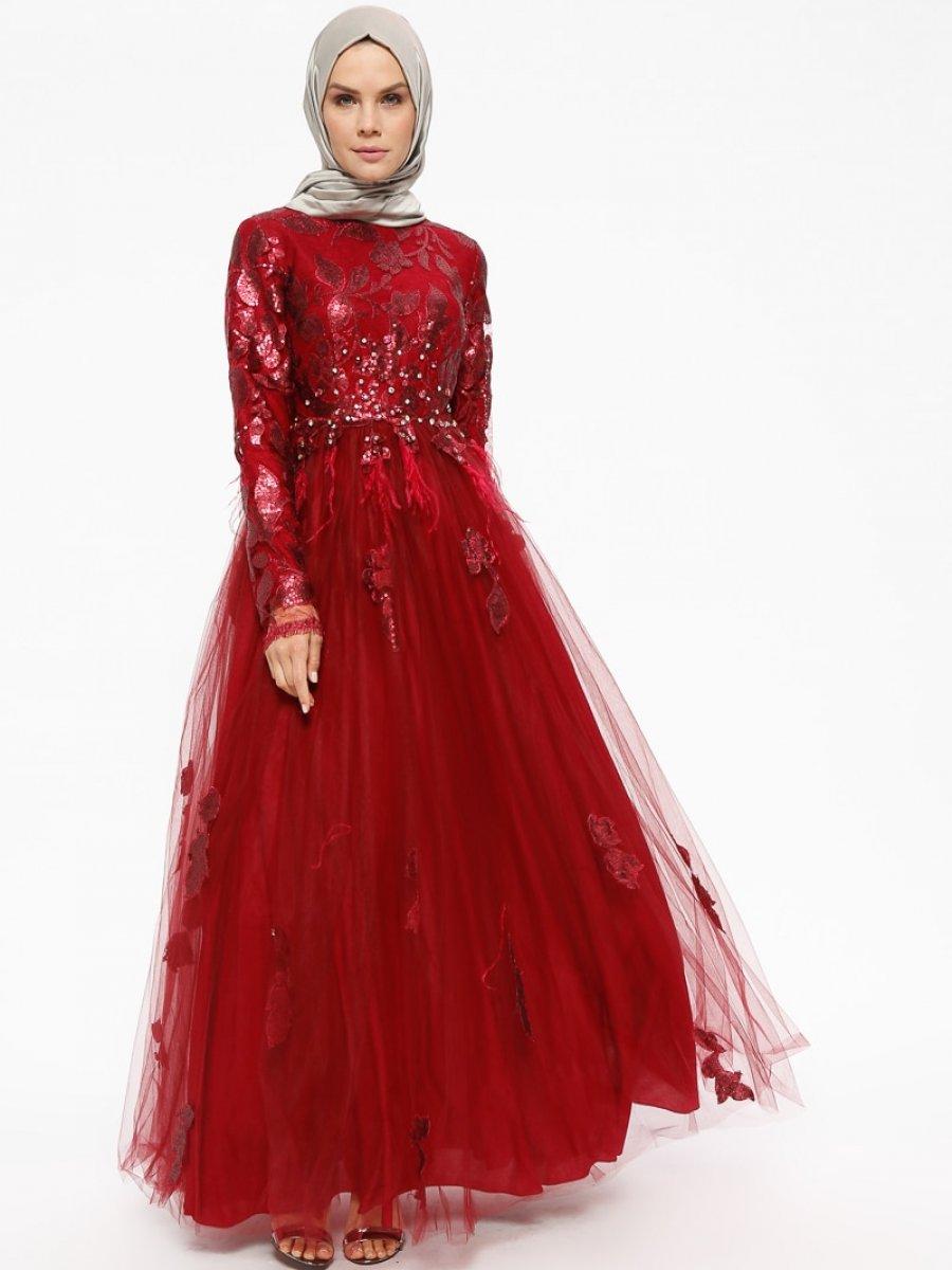 5718de29be0ae Armine Payetli Taşlı Kırmızı Abiye Elbise | Ehl-i Tesettür