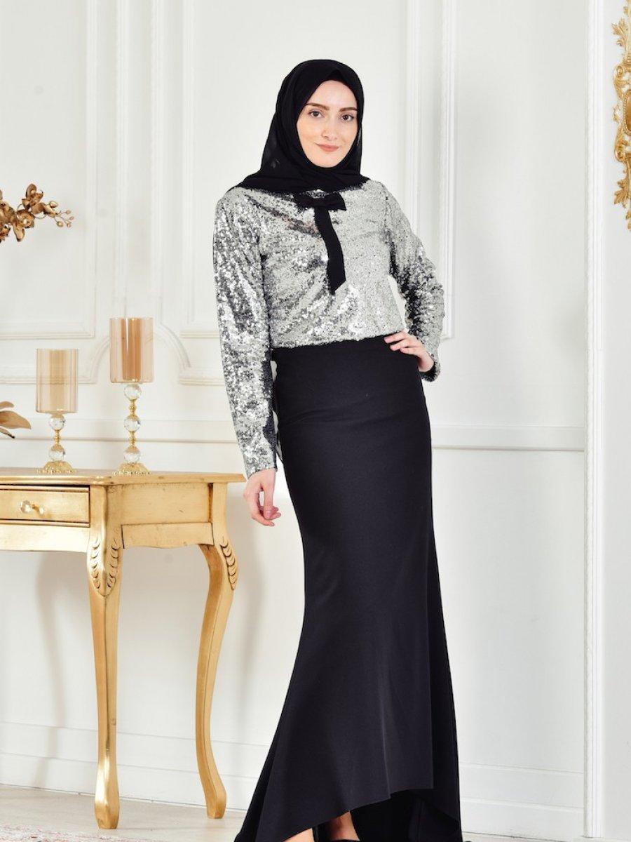264957c414d21 Sefamerve Gri Payetli Bluz Etek Abiye Elbise İkili Takım | Ehl-i ...