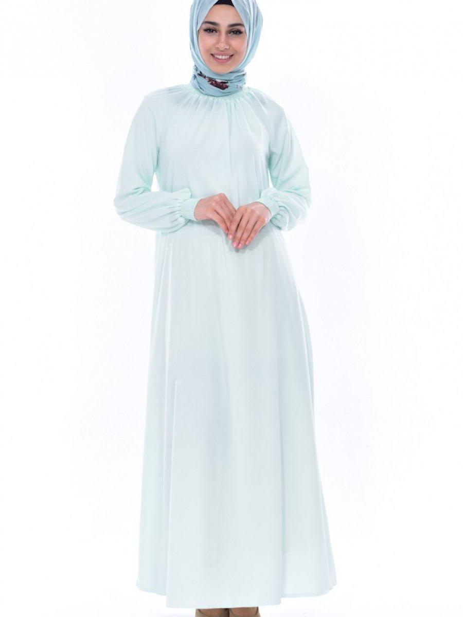 493a992783e25 Sefamerve Kolu Lastikli Neon Yeşili Elbise | Ehl-i Tesettür