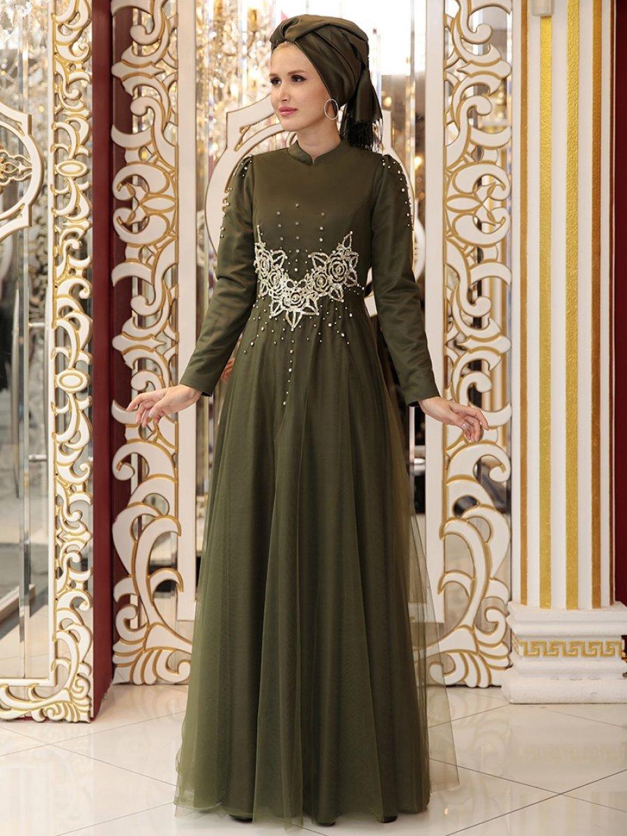 15dc1b7f87744 Selma Sarı Design Kolları Taşlı Haki Abiye Elbise | Ehl-i Tesettür