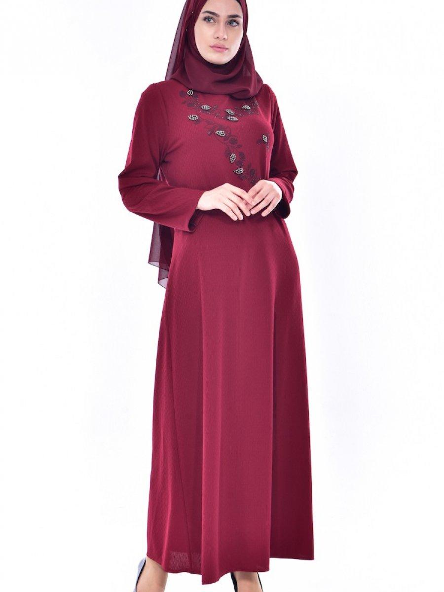 26fd2c99ca1cd Sefamerve Boncuk İşlemeli Bordo Elbise   Ehl-i Tesettür