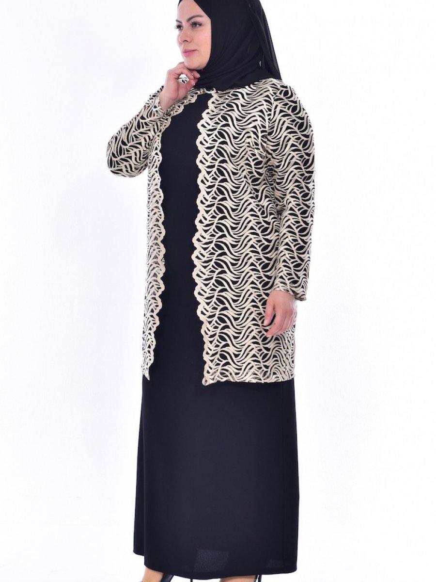 c368a06e1a7d0 Sefamerve Büyük Beden Ceket Elbise İkili Siyah Takım | Ehl-i Tesettür