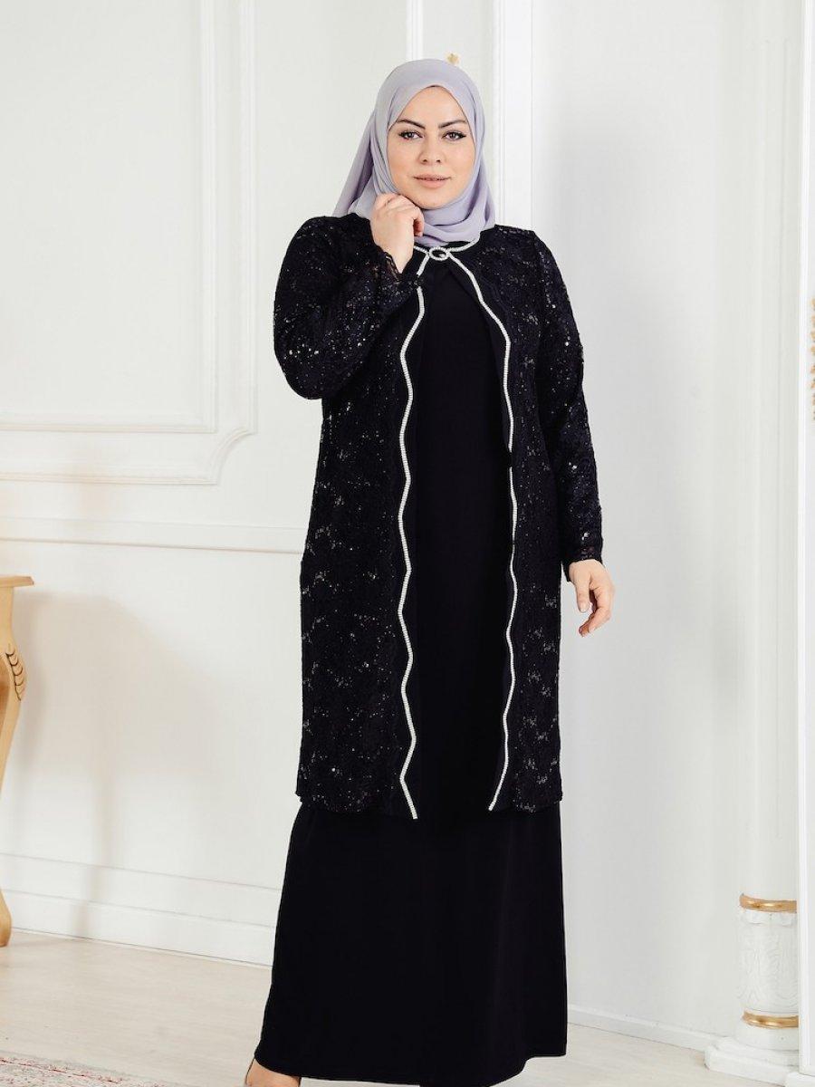 fc36a99fb05f4 Sefamerve Siyah Büyük Beden Ceket Elbise Abiye İkili Takım | Ehl-i ...
