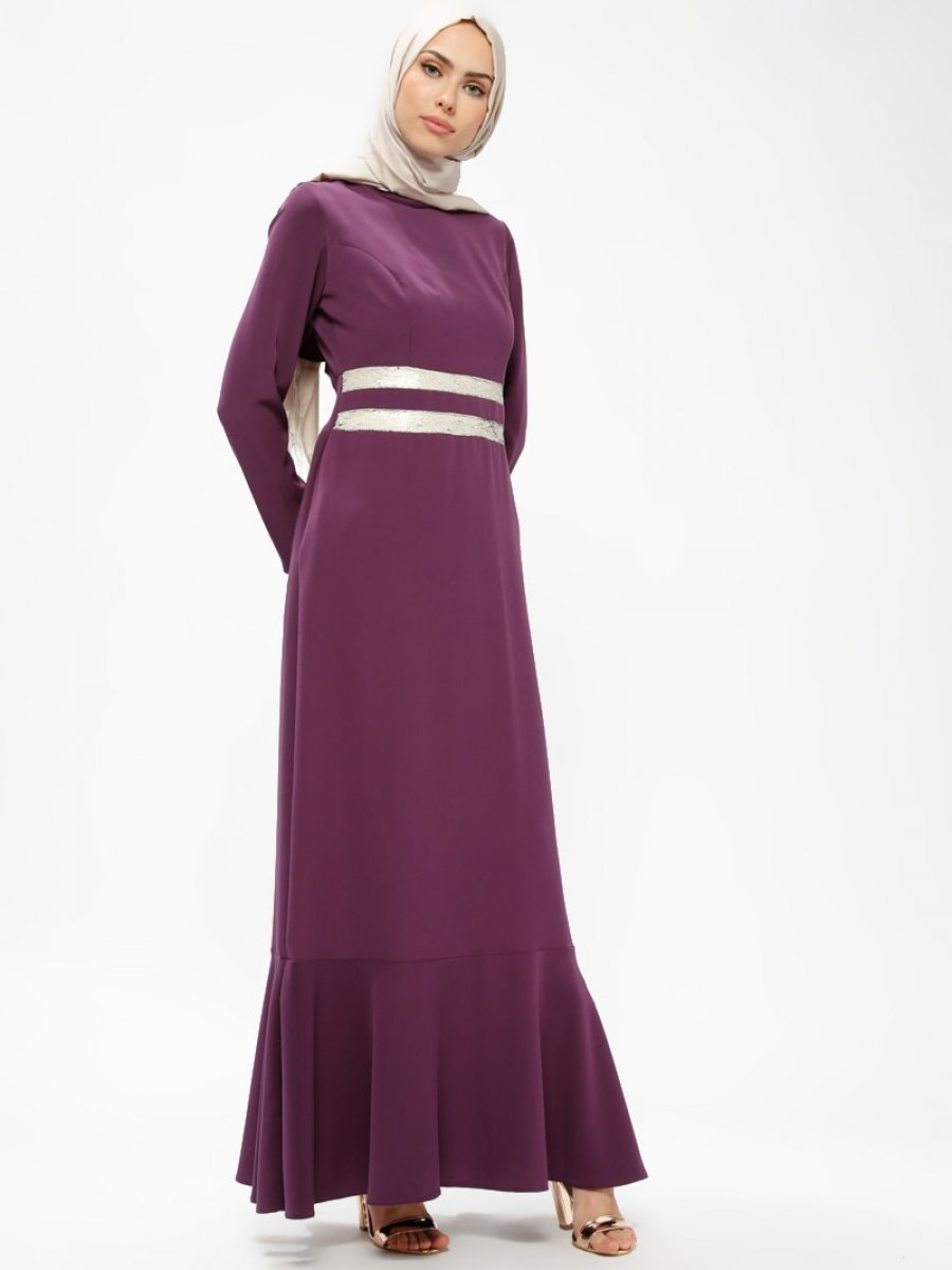 082fd42d02bd2 Armine Payet Detaylı Mor Abiye Elbise | Ehl-i Tesettür