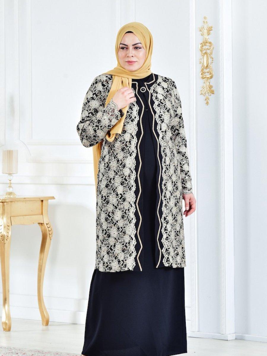 785ac4384b68e Sefamerve Siyah Gold Büyük Beden Ceket Elbise Abiye Elbise İkili Takım