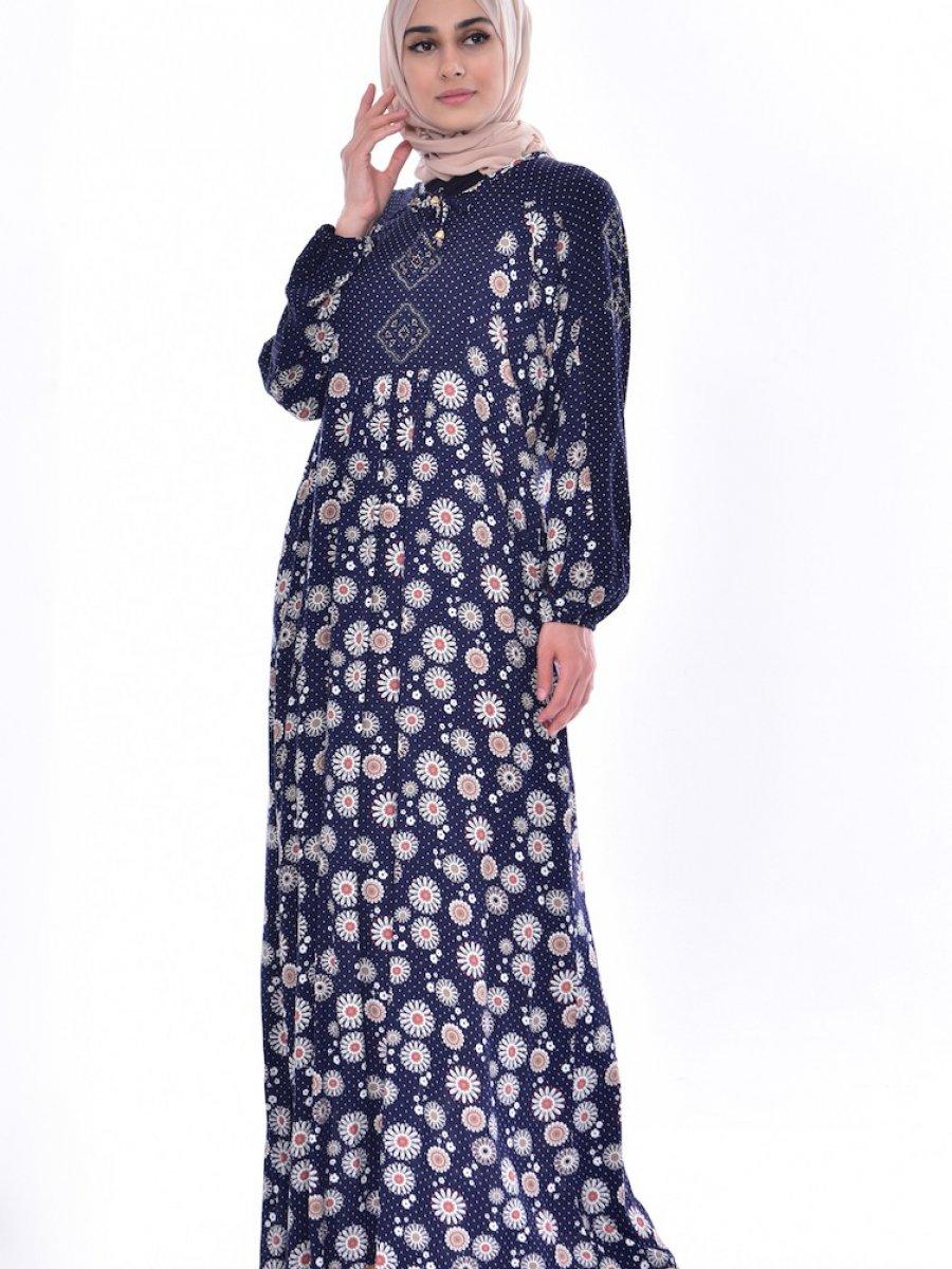 091c3ac0eac00 Sefamerve Büyük Beden Taş Detaylı Lacivert Elbise | Ehl-i Tesettür