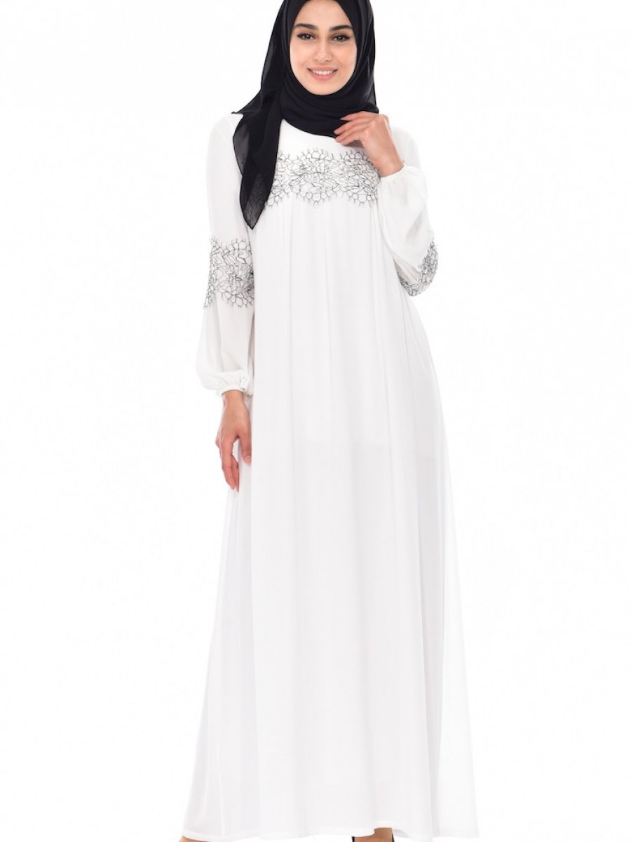 d3e69c2e58861 Sefamerve Güpür Detaylı Beyaz Elbise | Ehl-i Tesettür