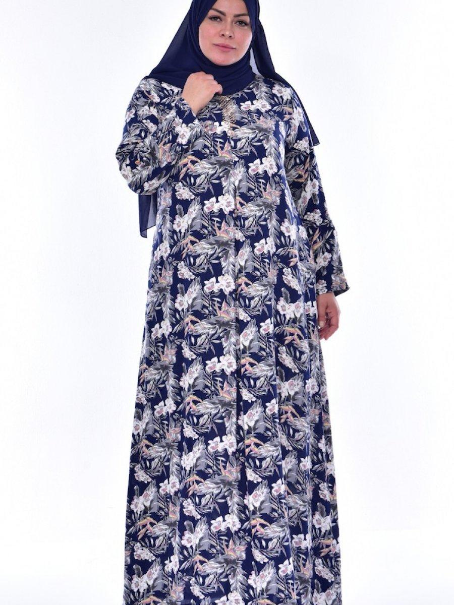 a58d399aef5c9 Sefamerve Büyük Beden Taş Detaylı Lacivert Pudra Elbise | Ehl-i Tesettür