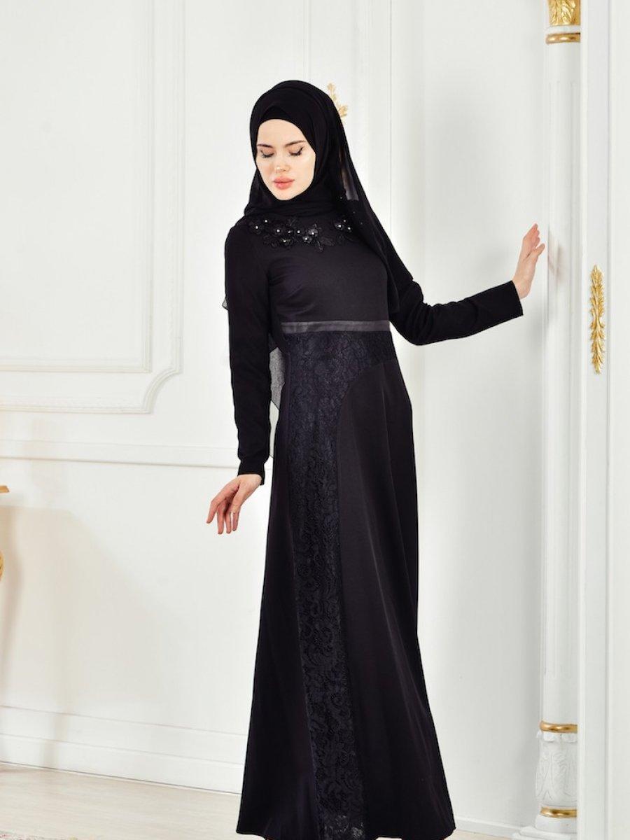 74f4af5d211fc Sefamerve Çiçekli Dantelli Siyah Elbise | Ehl-i Tesettür