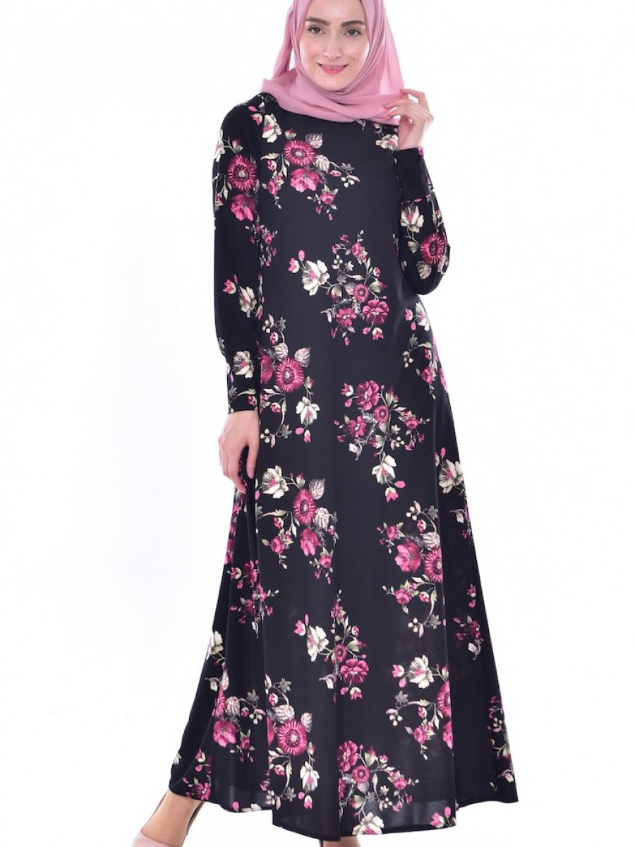 0f2c7b05fc77d Sefamerve Çiçek Desenli Siyah Mürdüm Elbise | Ehl-i Tesettür