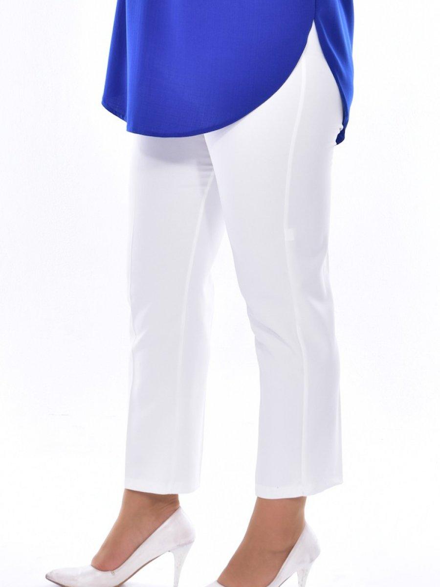 Sefamerve Büyük Beden Düz Paça Beyaz Pantolon