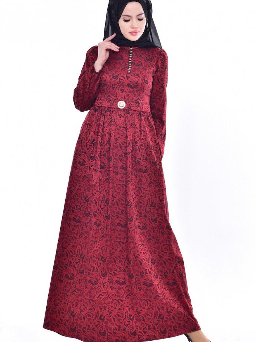 055579a977b8a Sefamerve Desenli Bordo Elbise | Ehl-i Tesettür