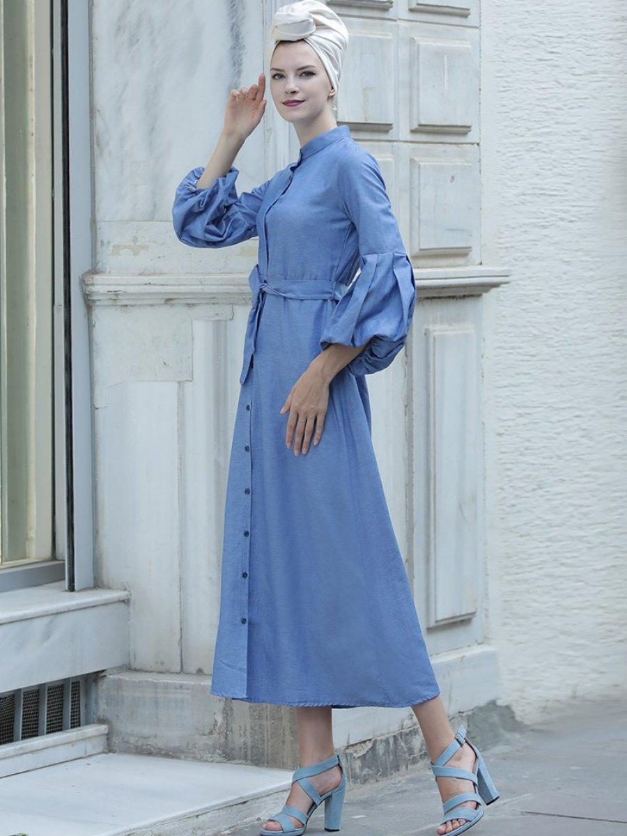 Selma Sarı Design Balon Kol Gömlek İndigo Elbise