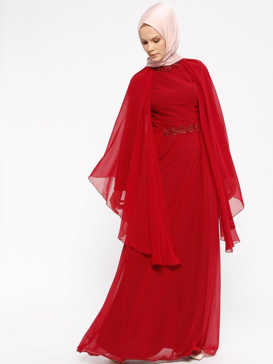 e591eac24856b Efkeyem Şifon Parçalı Bordo Abiye Elbise | Ehl-i Tesettür