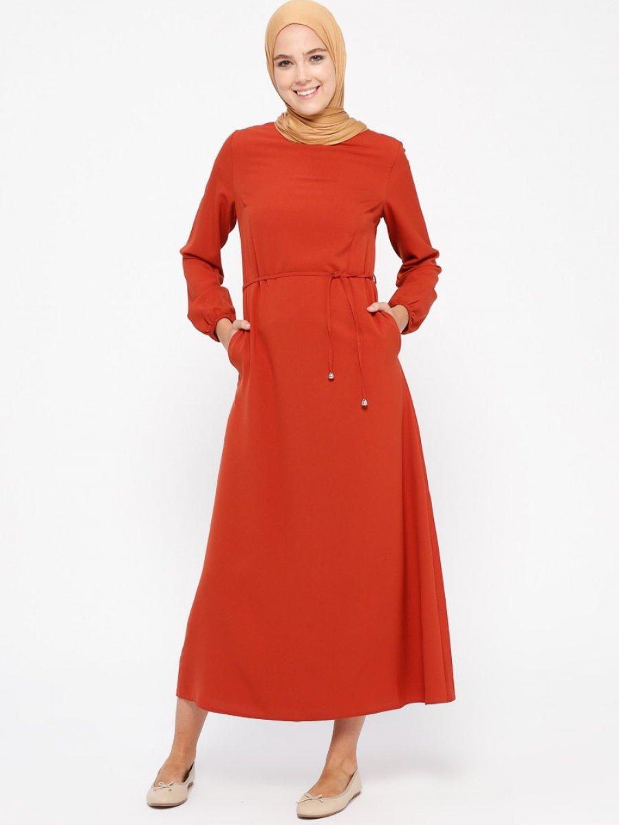 5ea5646c701ef Beha Tesettür Düz Renk Kiremit Elbise | Ehl-i Tesettür