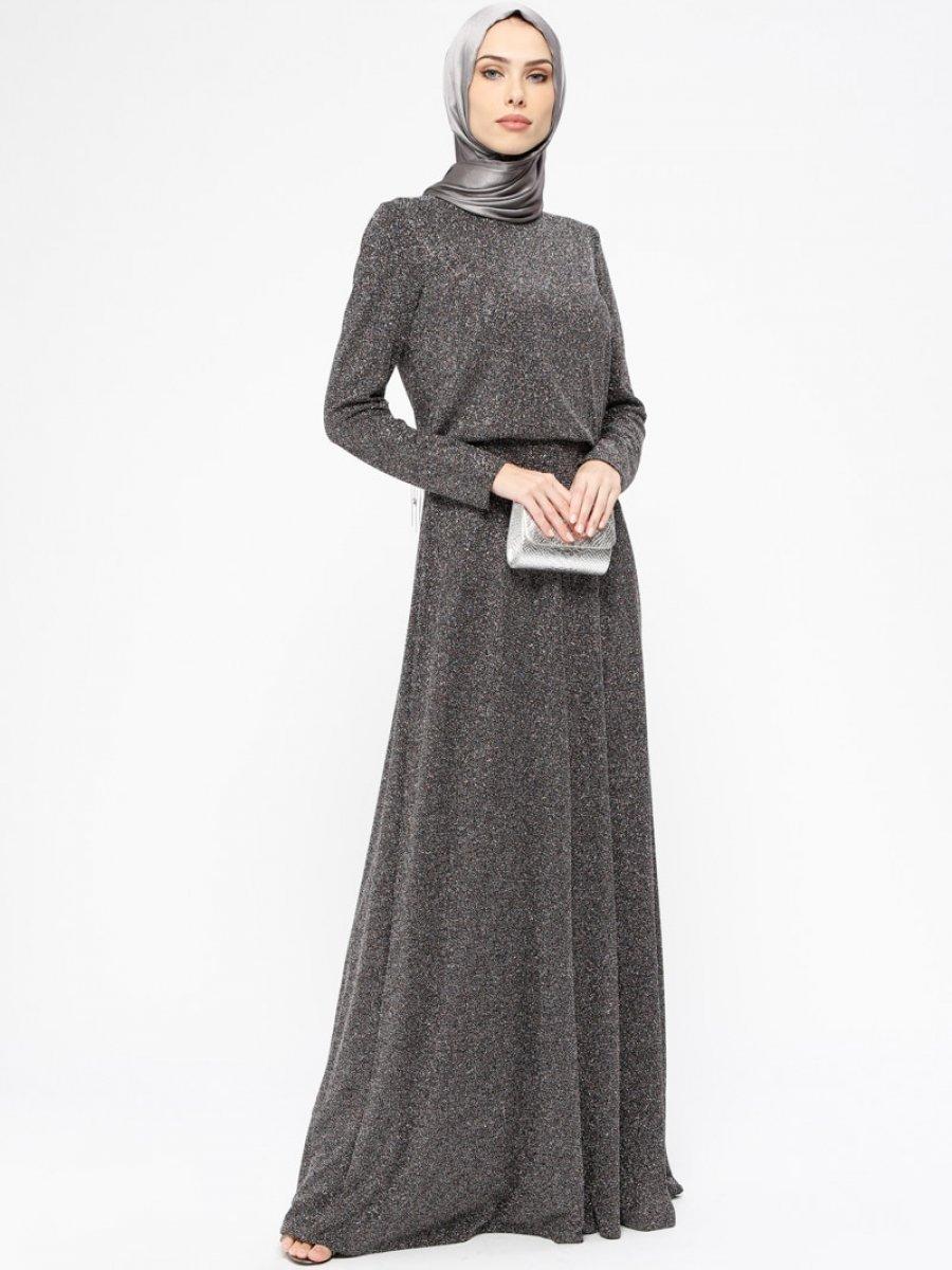 61d396434003d Armine Simli Gümüş Abiye Elbise | Ehl-i Tesettür
