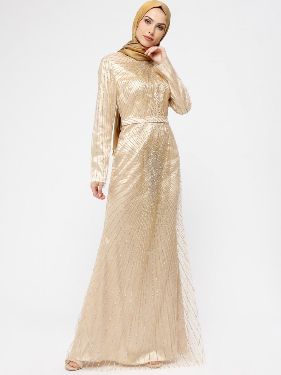 b0a3f8aba9d0a Armine Taşlı Simli Gold Abiye Elbise | Ehl-i Tesettür