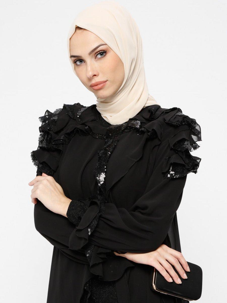 bba56539d898f Armine Simli Payetli Siyah Abiye Elbise | Ehl-i Tesettür