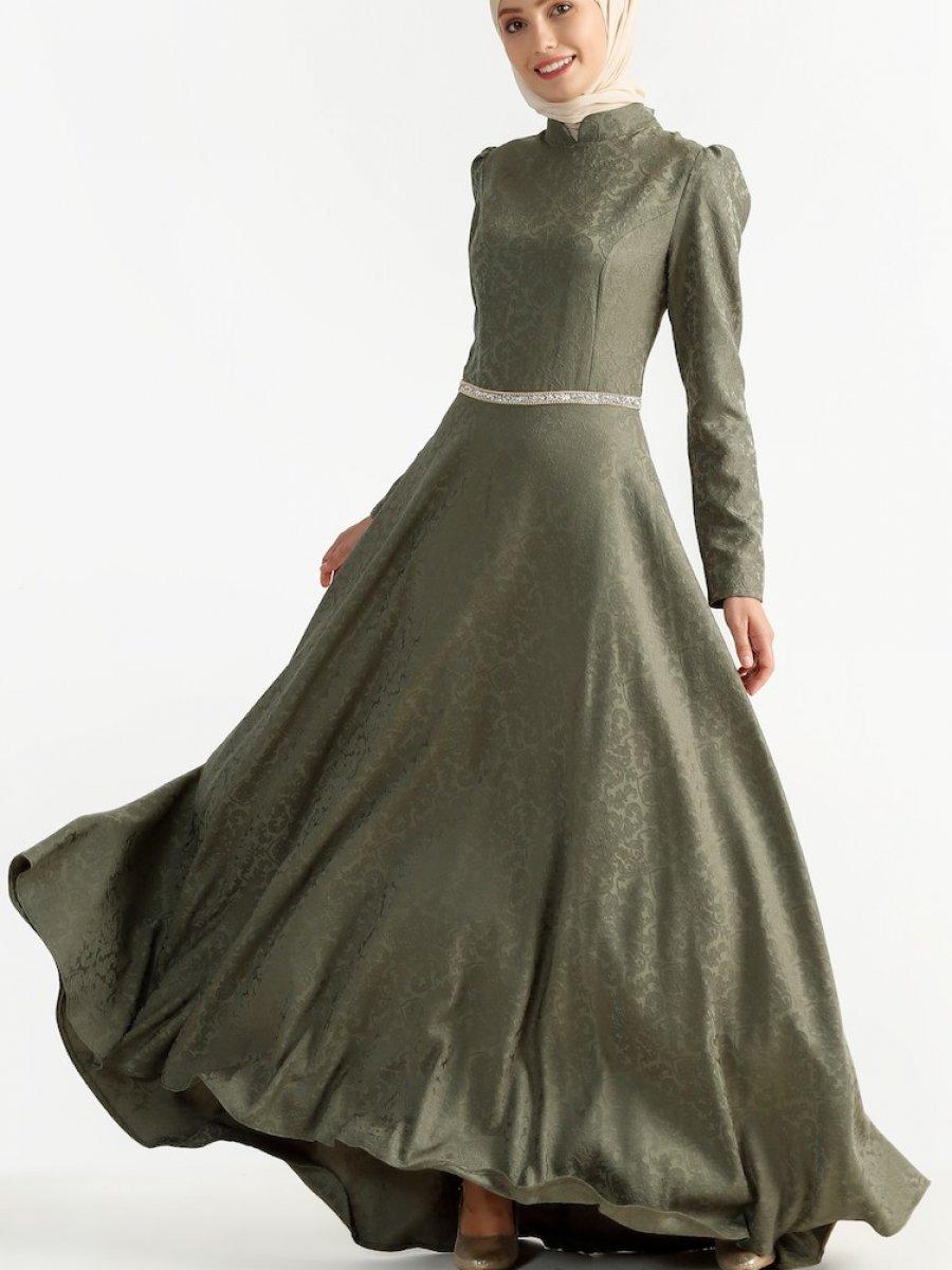 e7aaab2ca66f7 Sefamerve Jakarlı Haki Abiye Elbise | Ehl-i Tesettür