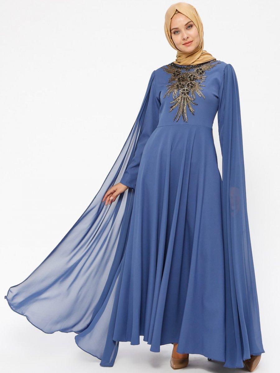 BÜRÜN Şifon Detaylı İndigo Abiye Elbise