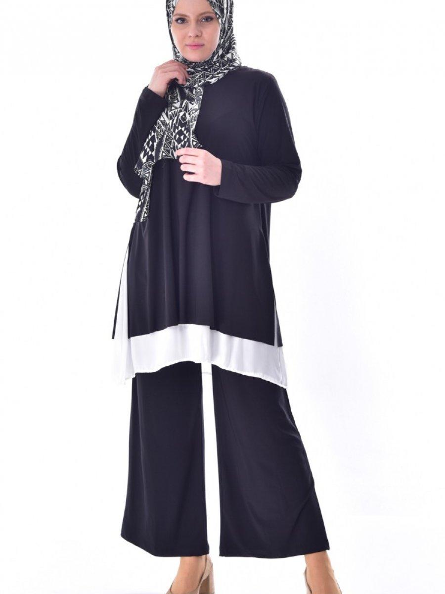 Sefamerve Tunik Pantolon İkili Siyah Takım