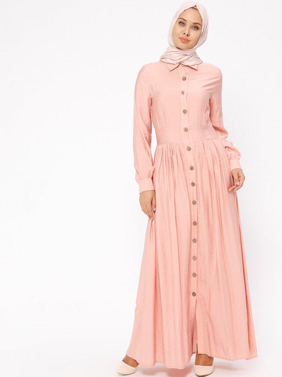 BÜRÜN Boydan Düğmeli Pembe Elbise