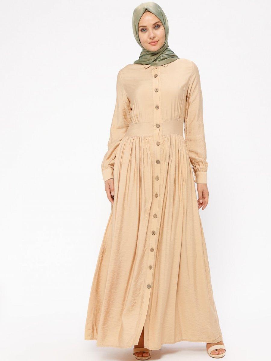 BÜRÜN Boydan Düğmeli Camel Elbise