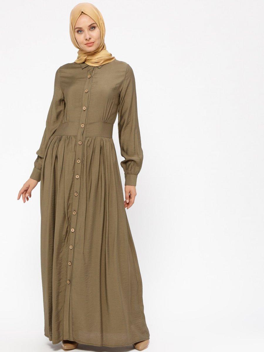 BÜRÜN Boydan Düğmeli Haki Elbise