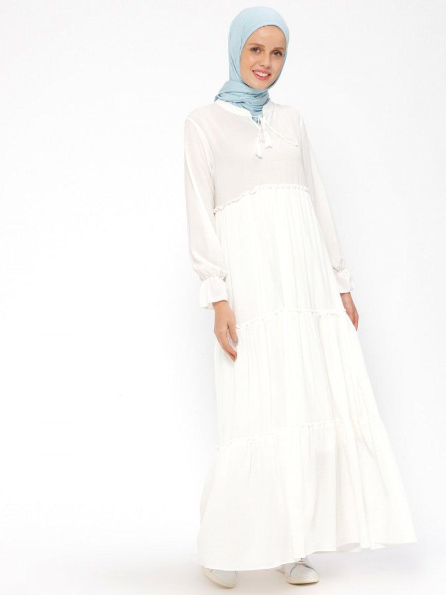 Beha Tesettür Fırfırlı Beyaz Elbise