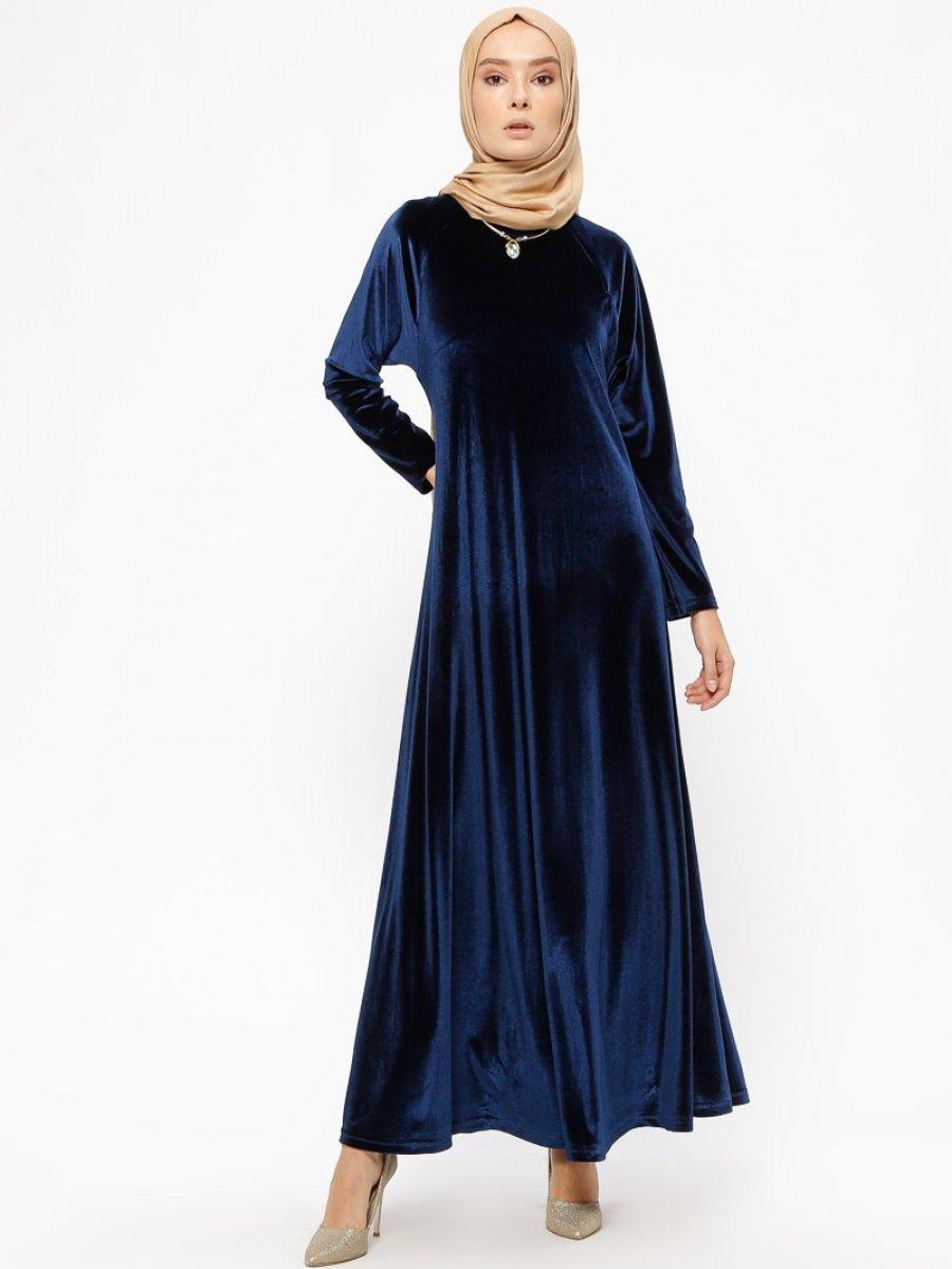 0683f0894aaba Ginezza Kadife Lacivert Elbise | Ehl-i Tesettür