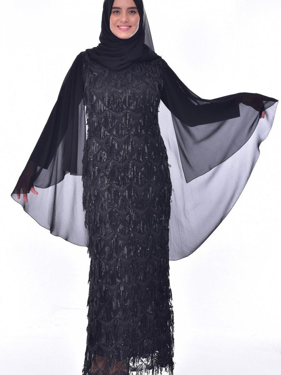 07f9d4b447a36 Sefamerve Büyük Beden Payetli Siyah Abiye Elbise | Ehl-i Tesettür