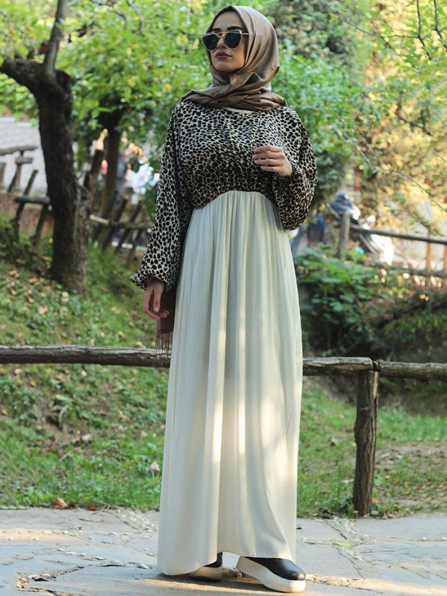 Fatma Aydın Krem Kahve Elbise Ferace