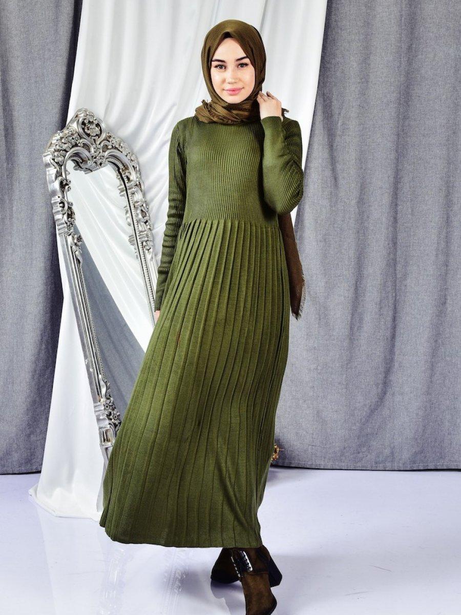 Sefamerve Triko Haki Elbise