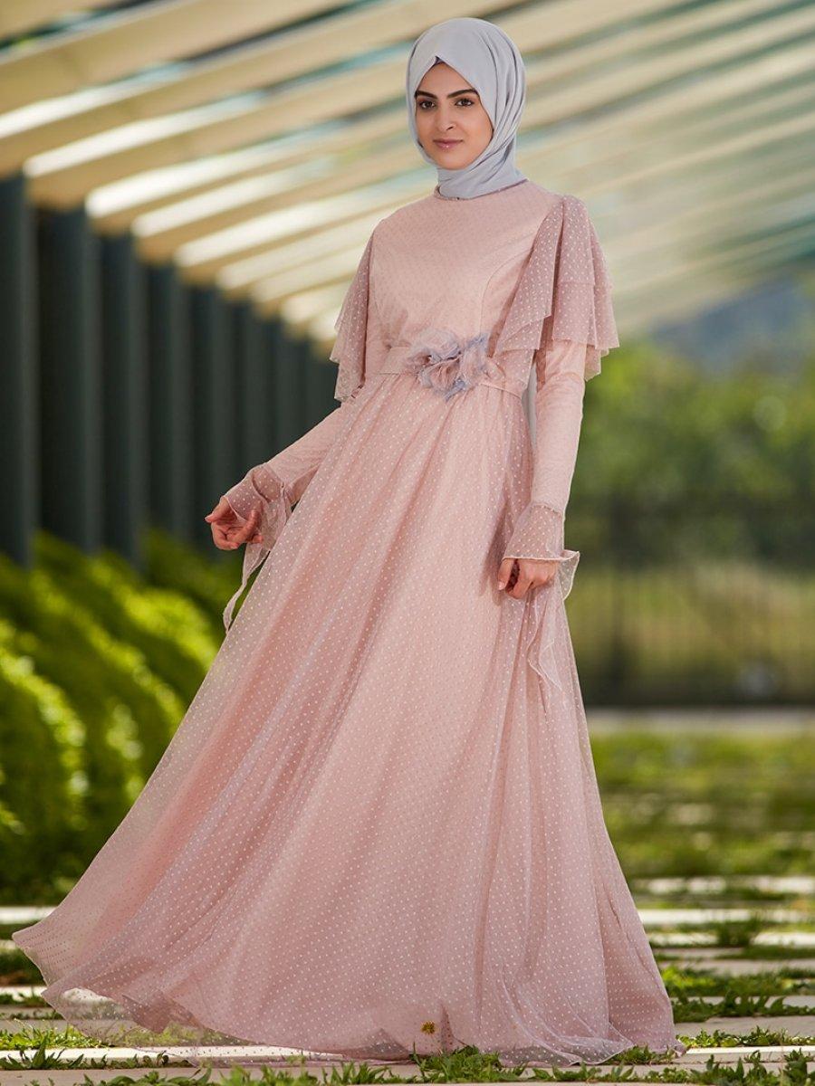 SomFashion Puantiye Pudra Abiye Elbise