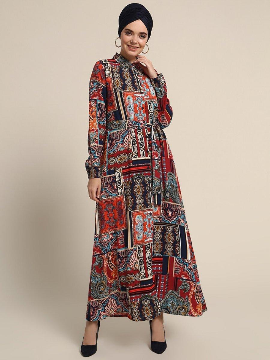 1bc56ae0e57a8 Refka Boydan Düğmeli Desenli Lacivert Elbise | Ehl-i Tesettür
